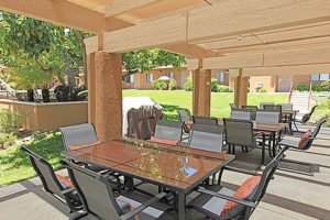 Large outdoor seating with tables, chairs, and grill