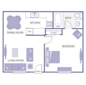 1 bed 1 bath floor plan, kitchen and dining room, living room, 1 closet